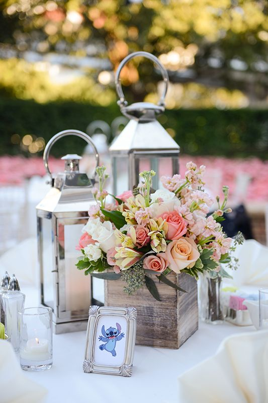 Rustic inspired wooden box floral centerpiece disney s