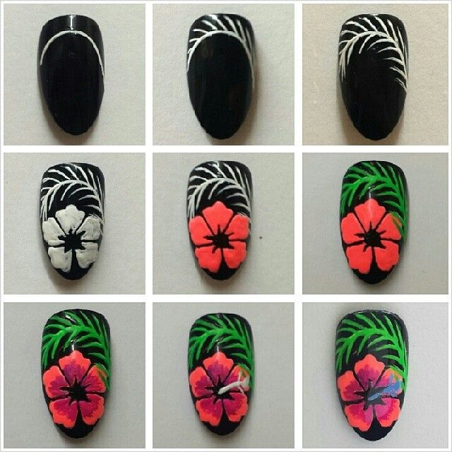 Hibiscus flower nail art tutorial nails manicure | nails | Pinterest ...