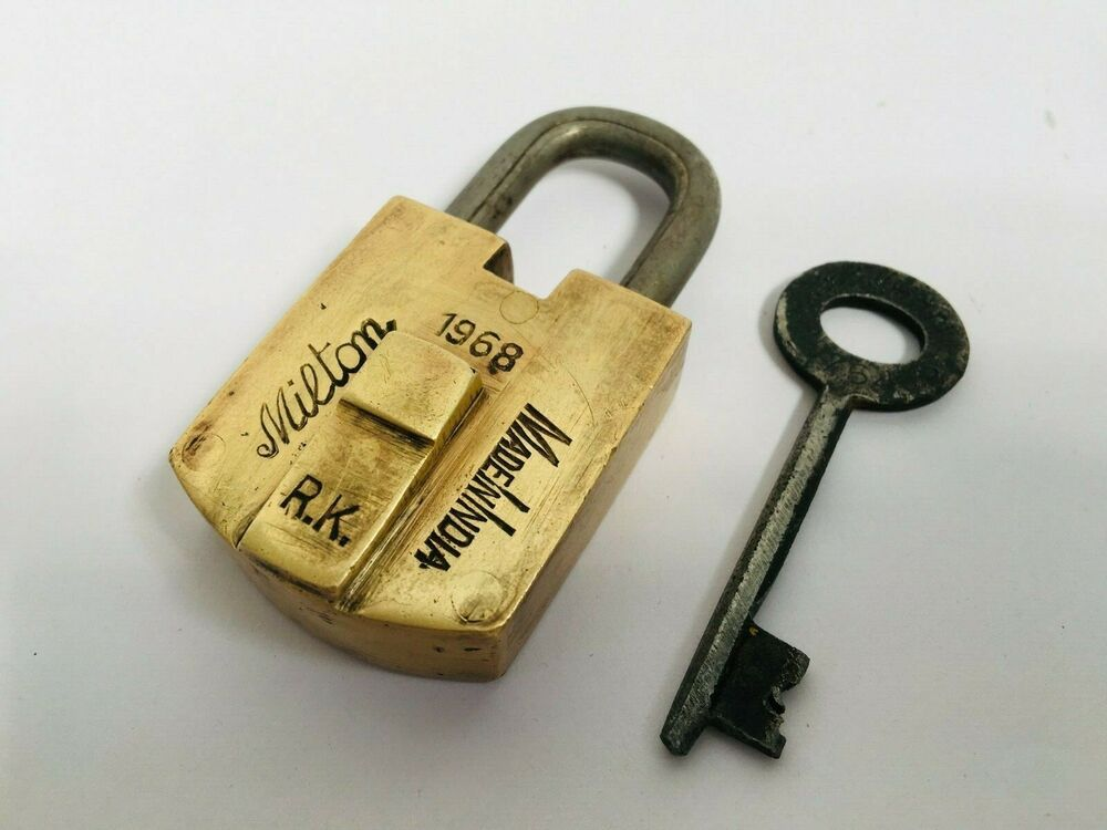 1968 Old Brass Handcrafted Milton Lock India Padlock Rich Patina Collectible Ebay Patina Handcraft Brass