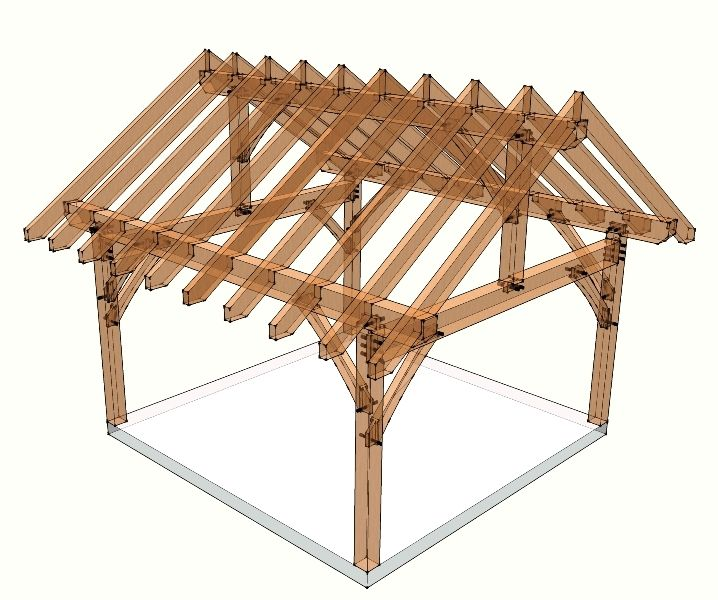 This 16x16 Timber Frame Plan Utilizes Traditional Joinery To Create A Frame  That You Can Use