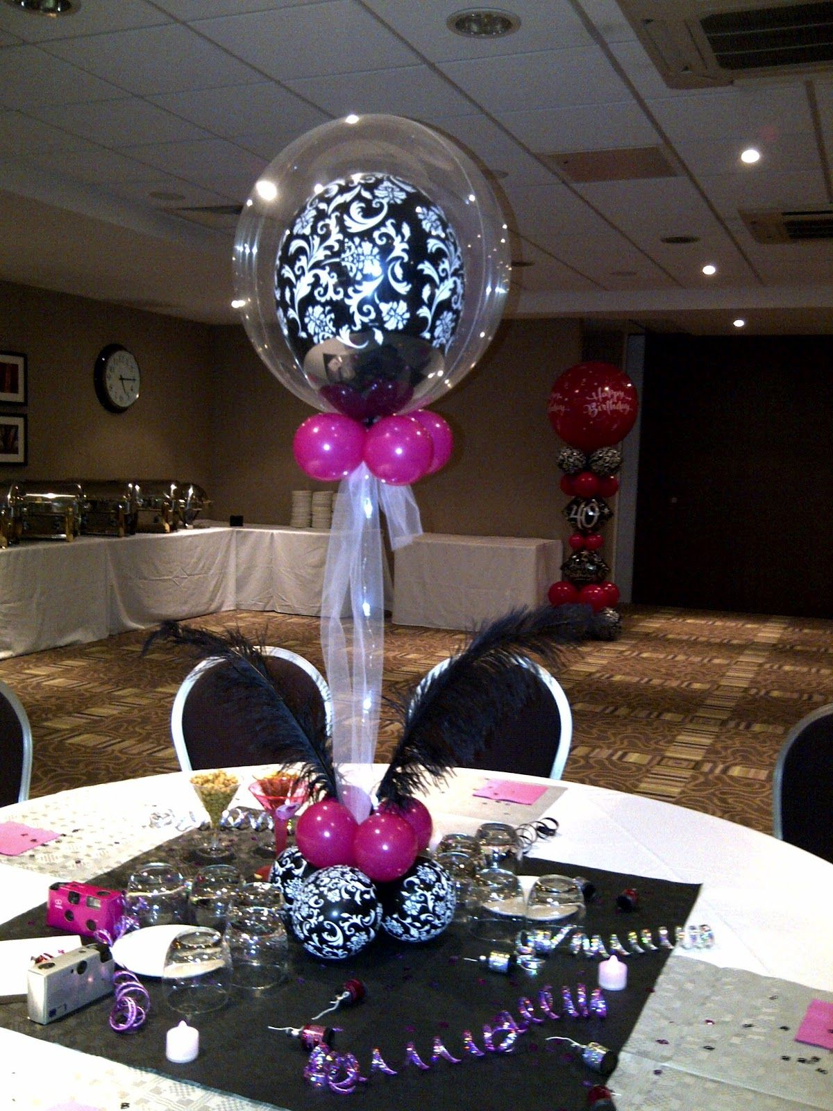 Centerpieces Birthday Tables Ideas 60th birthday party table decorations 60th milestone centerpiece Pink And Black Centerpieces Ideas Balloon Decorators Wild Berry Pink And