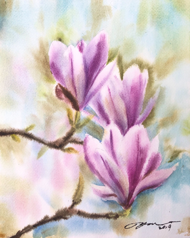 Original Purple Magnolia Flowers Watercolor Painting 8x10 Etsy In 2020 Watercolor Flowers Flower Painting Arches Watercolor Paper