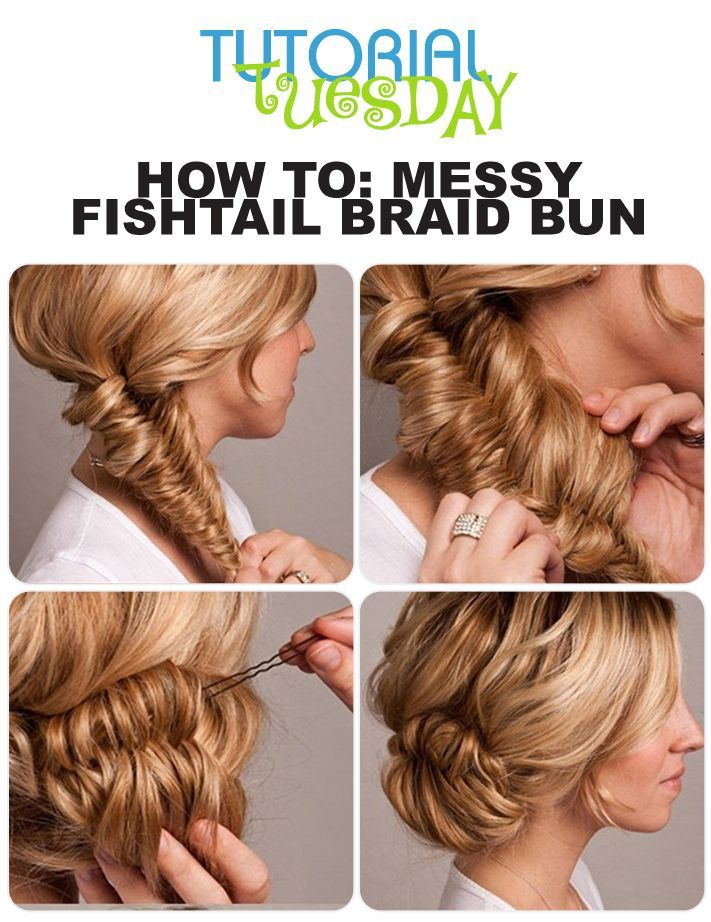 Tutorial tuesday messy fishtail braid bun hair fishtail bun braids are a great way to get different hair bun styles todays braided bun style is great for special occasions whether it be a wedding family party or solutioingenieria Images