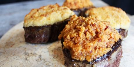 Cheese Crusted Beef Tenderloin....and add crumbled bacon to the cheese crust.