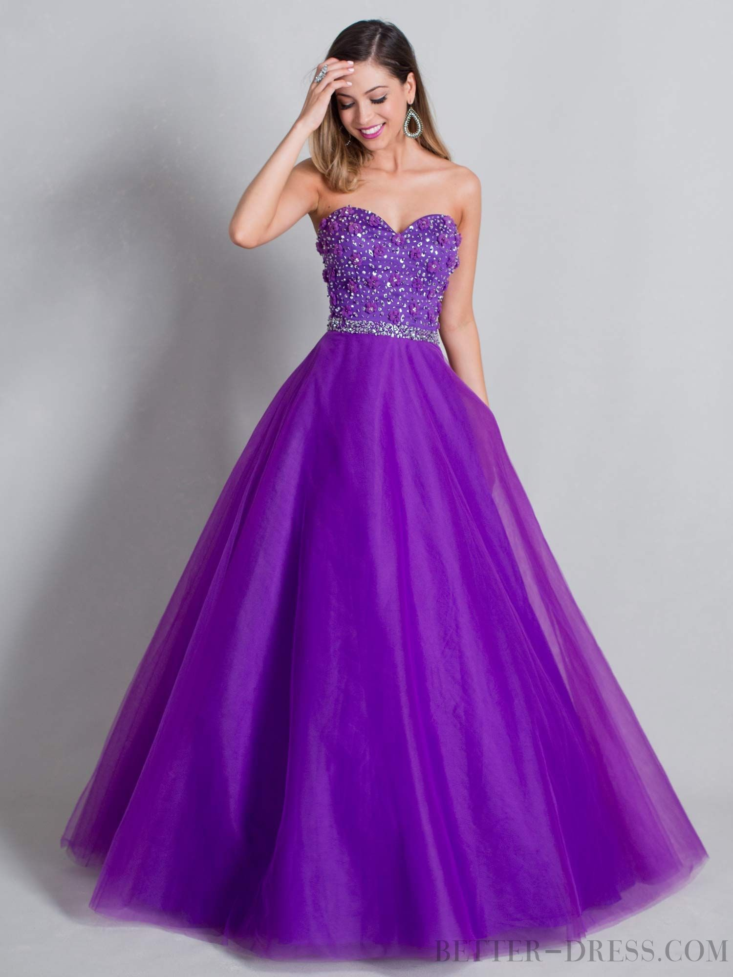 Ball Gown Sweetheart Floor-length Organza Quinceanera Dresses ...