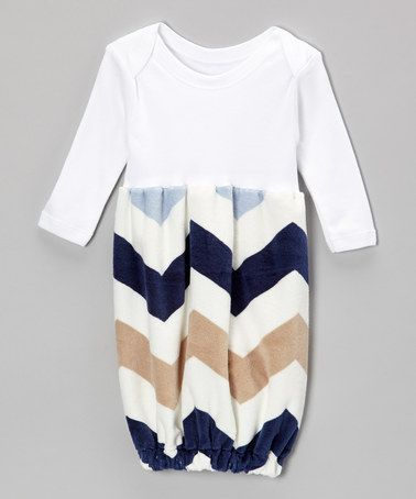 Take a look at this Navy Zigzag Minky Gown - Infant by Caught Ya Lookin' on #zulily today!