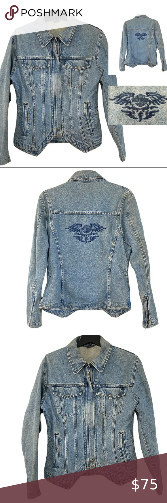 Harley Davidson Biker Blues Denim Jeans Jacket Blue Denim Jeans Denim Jacket Women Denim Jean Jacket [ 1740 x 580 Pixel ]