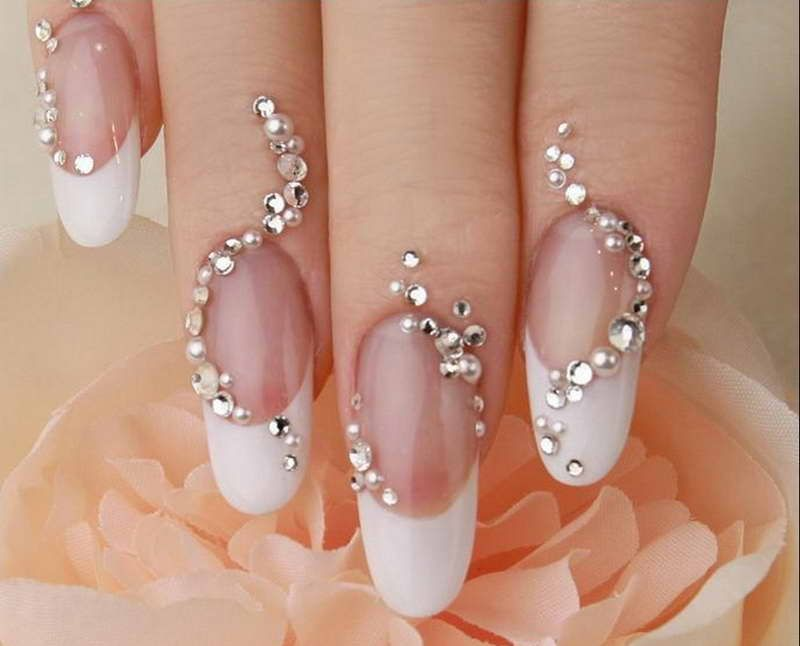 nails+with+diamonds | Cool Wedding Nail Designs With Diamonds And Pearls  Ornament - Nails+with+diamonds Cool Wedding Nail Designs With Diamonds And