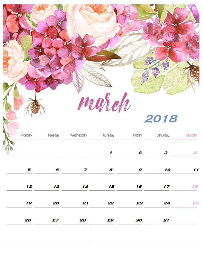 Desk Calendar March 2018 | Calendar Designs | Calendar ...