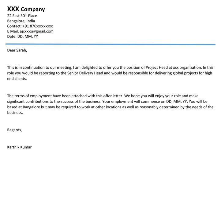 offer letter format sample joining canada customer service resume - employment acceptance letter