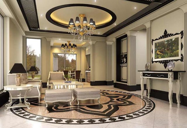 Marble Floor Designs For Luxury Living Room Interior Design 640x439