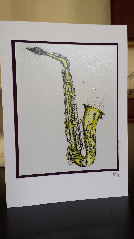 Saxophone Art Print Greeting Card By Norahbrinkartworks On Etsy