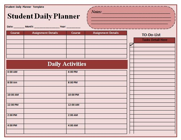 student planner printable Donu0027t forget to read our Privacy - daily planner word template