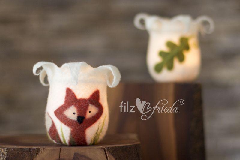 kleines Windlicht mit Fiedel Fuchs von filzfrieda - handgefilzte fröhlichmacher! auf DaWanda.com