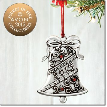 "2015 Bell Pewter Ornament Add our annual Avon collectible pewter ornament to your collection. Classic bell shape and red rhinestone accents make this a timeless piece for your tree. Comes in a velvet-like pouch. Approx. 2 1/3"" H x 1 1/2"" W. Imported. Brochure: $9.99"