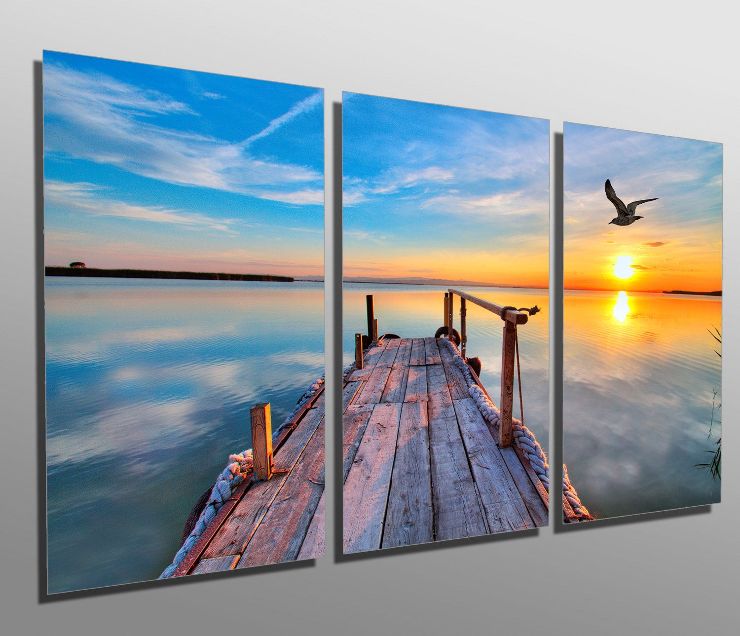 PURPLE SKY DOCK CANVAS WALL ART PICTURES PRINTS DECOR LARGER SIZES AVAILABLE