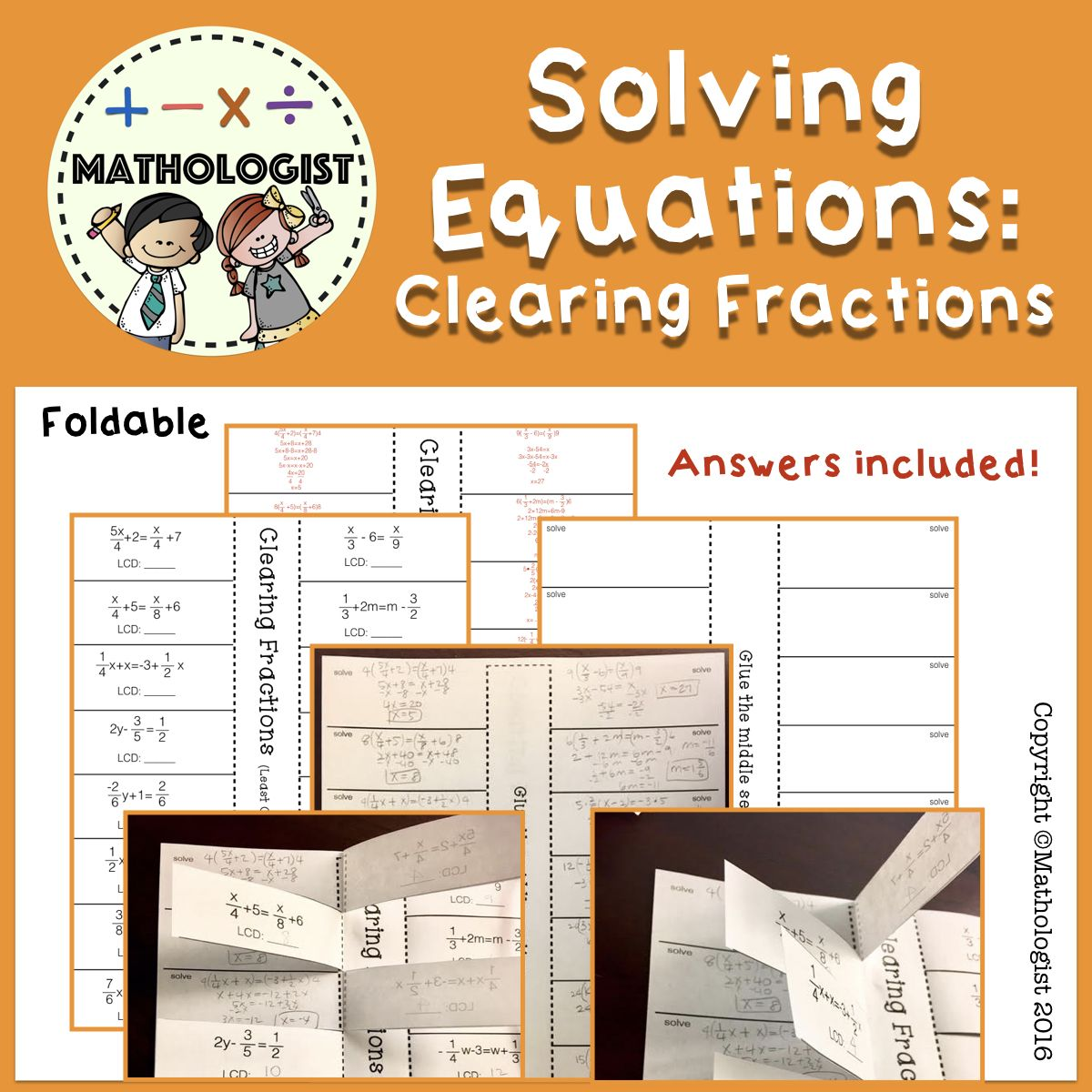 Solving Equations Clearing Fractions One Variable