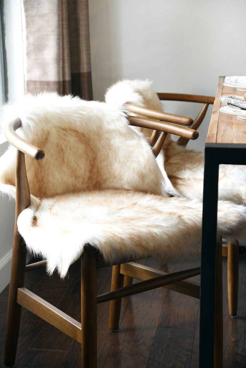 Ivory Beige White Faux Sheepskin Boho Fur Rug Chair Cover