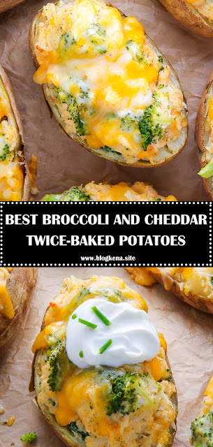 BEST BROCCOLI AND CHEDDAR TWICE-BAKED POTATOES - #recipes #russetpotatorecipes