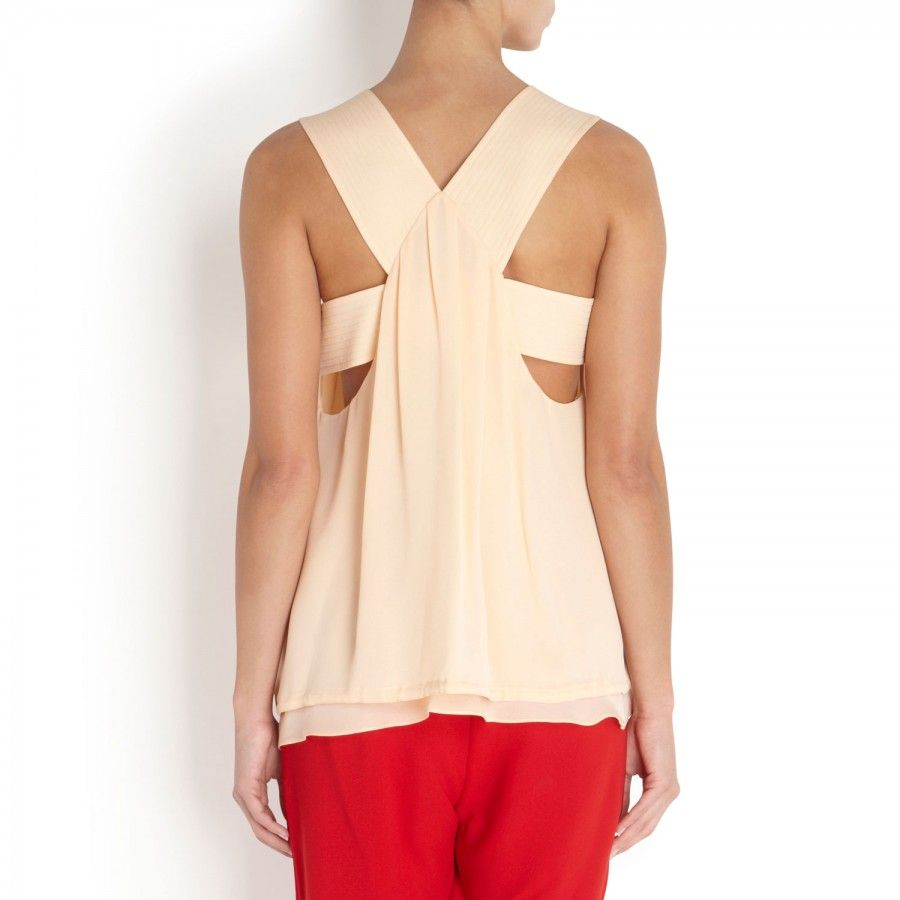 Haut drawstring silk top by Cloe.
