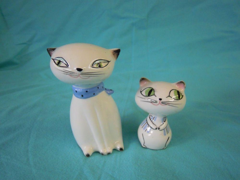 Vintage White Persian Cat Mother Son Salt and Pepper Shakers Holt Howard Japan
