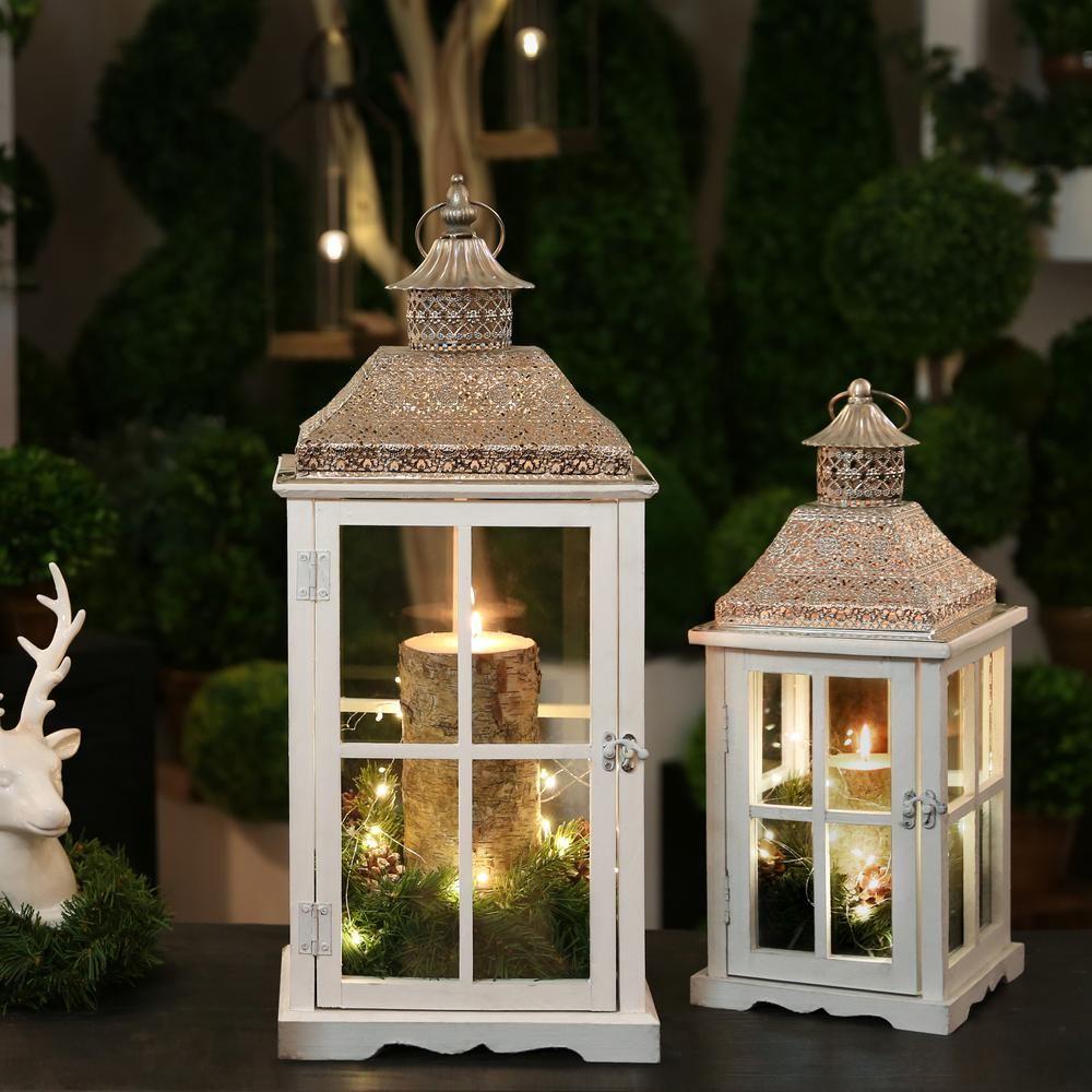 Urban Trends Collection White Candle Wooden Decorative Lantern In 2020 Lanterns Decor Wooden Lanterns Christmas Lanterns