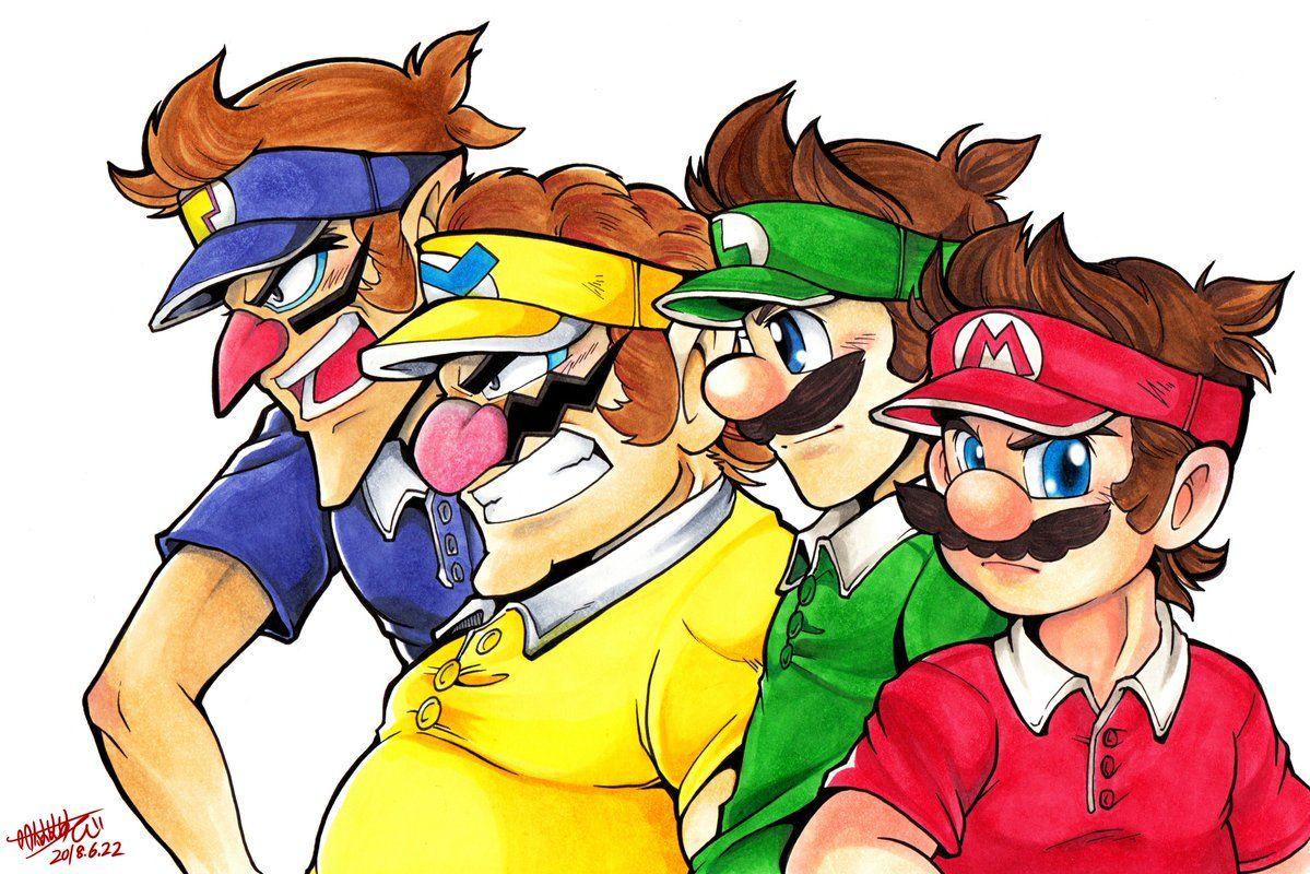 Mario Tennis Aces Waluigi Luigi Mario And Wario Mario