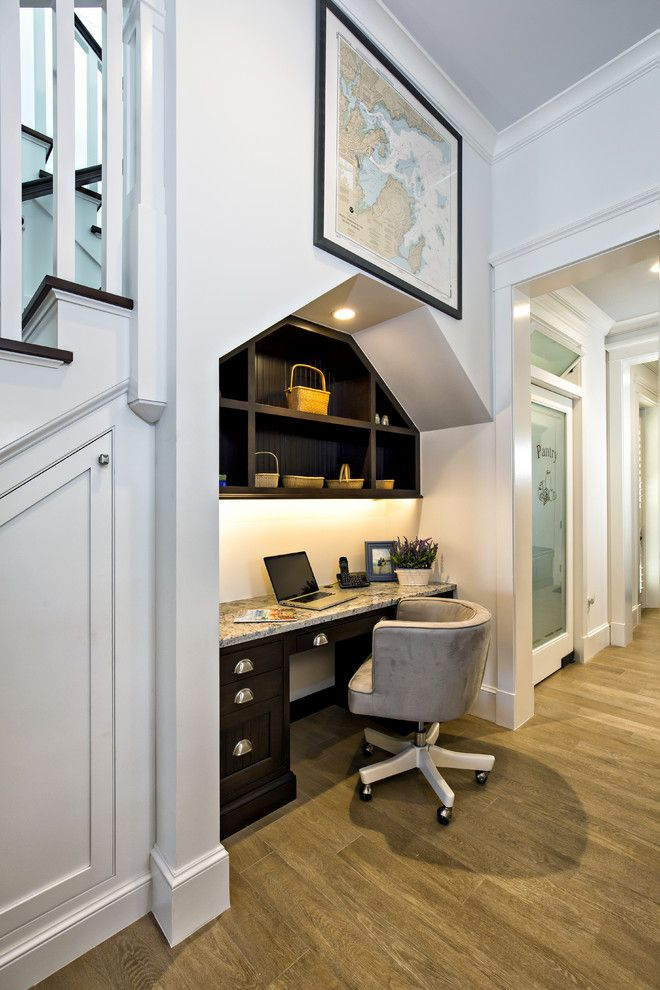 desk under the stairs built in office dark cabinets and shelving granite countertop on kitchen under stairs id=31615