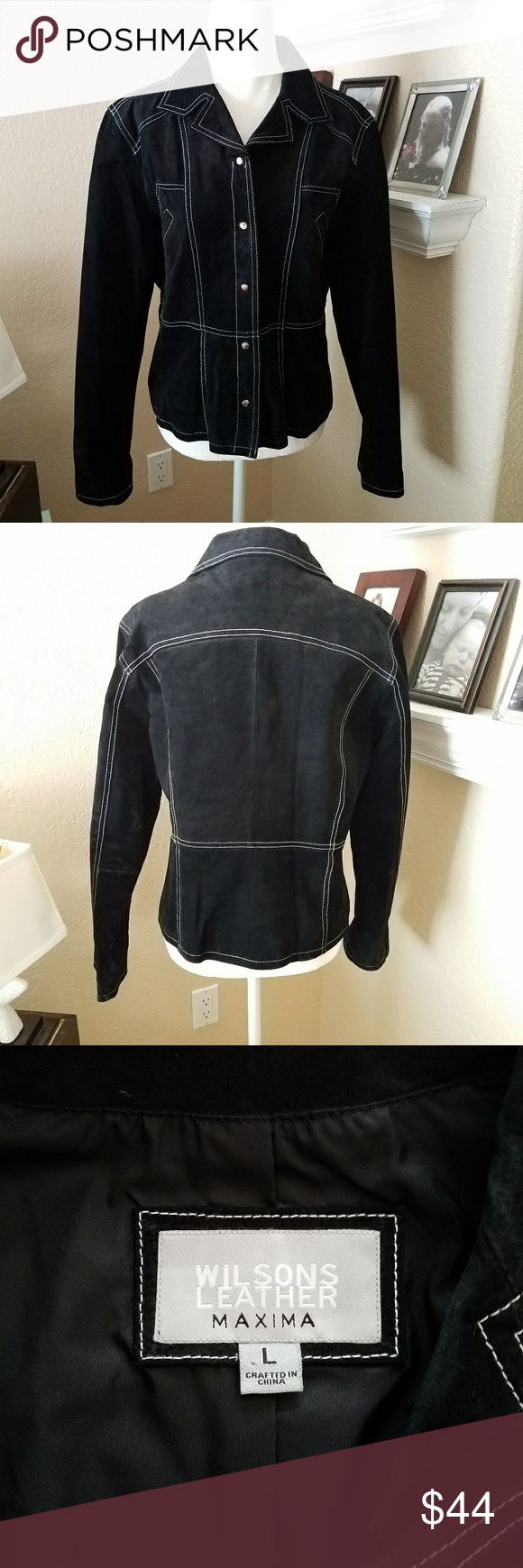 Wilson's Leather Black Suede Jacket Striking! This suede
