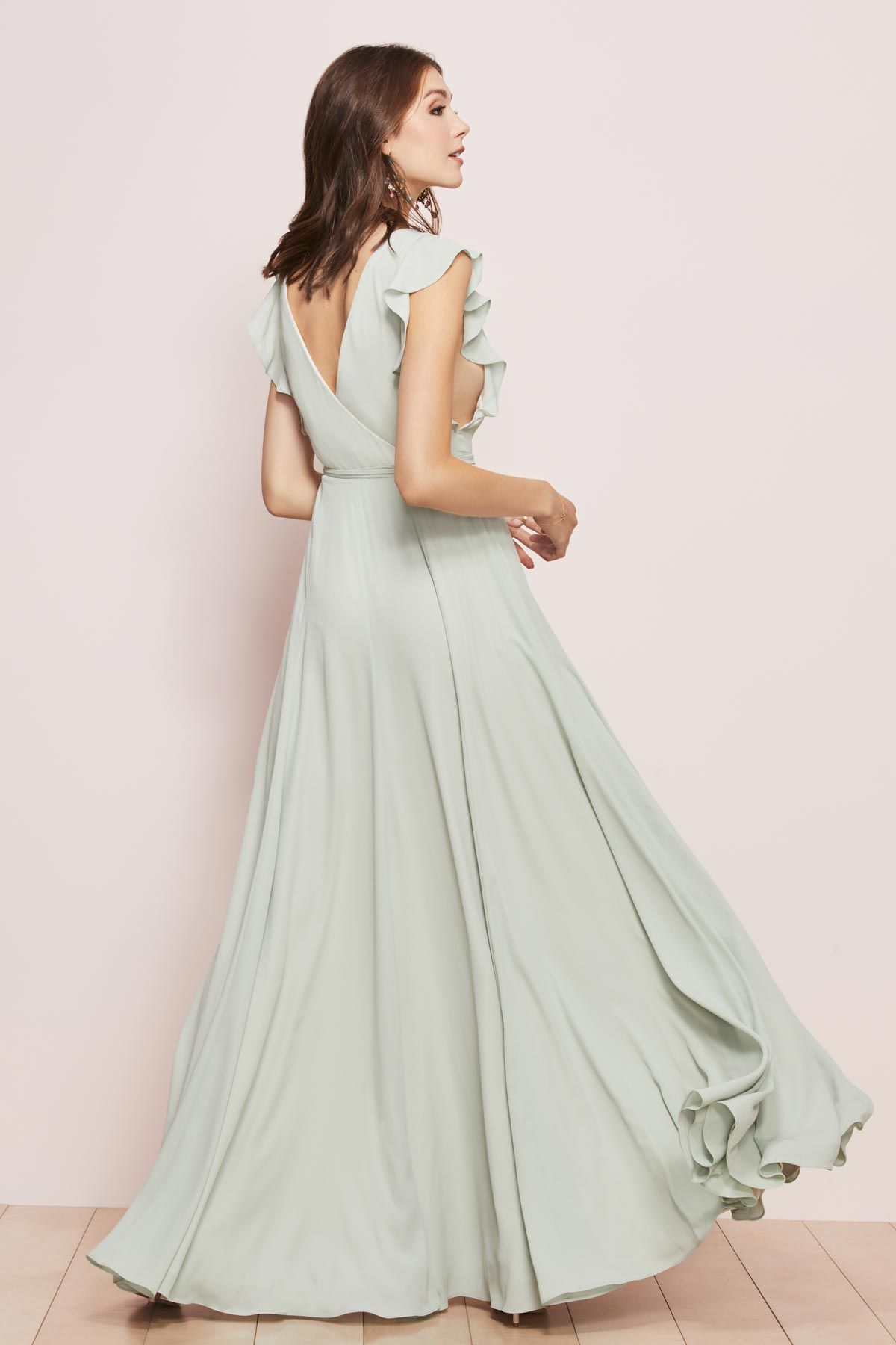 Everyone Knows A Wrap Dress Is The Ultimate In Flattery Which Is Why Our A Line George Watters Bridesmaid Dresses Bridesmaid Dresses Modern Bridesmaid Dresses