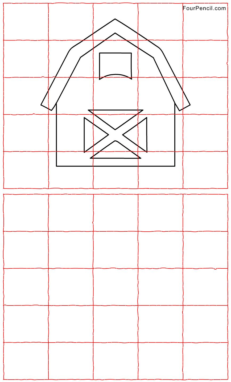 Free printable Barn grid line drawing worksheet for kids | 5th grade ...