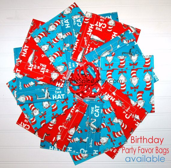 Cat in the Hat BIRTHDAY party favor bags!  Fill them with candy or a cookie! so cute! by pineapplespice.etsy.com