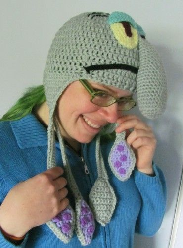 Squidward Tentacles Earflap Hat Ready To Ship Teenadult Size Or Mto