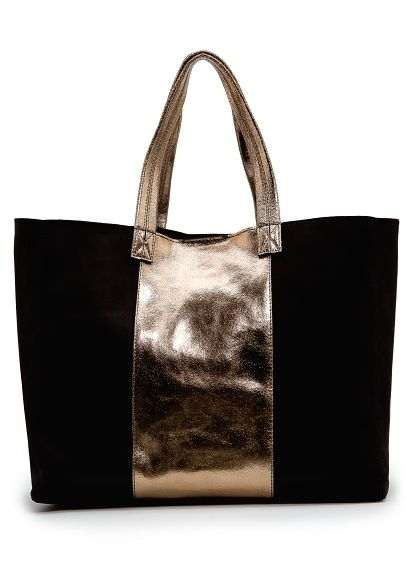 Leather Tote With Metallic Panel Women Diy Bags Purses Mango