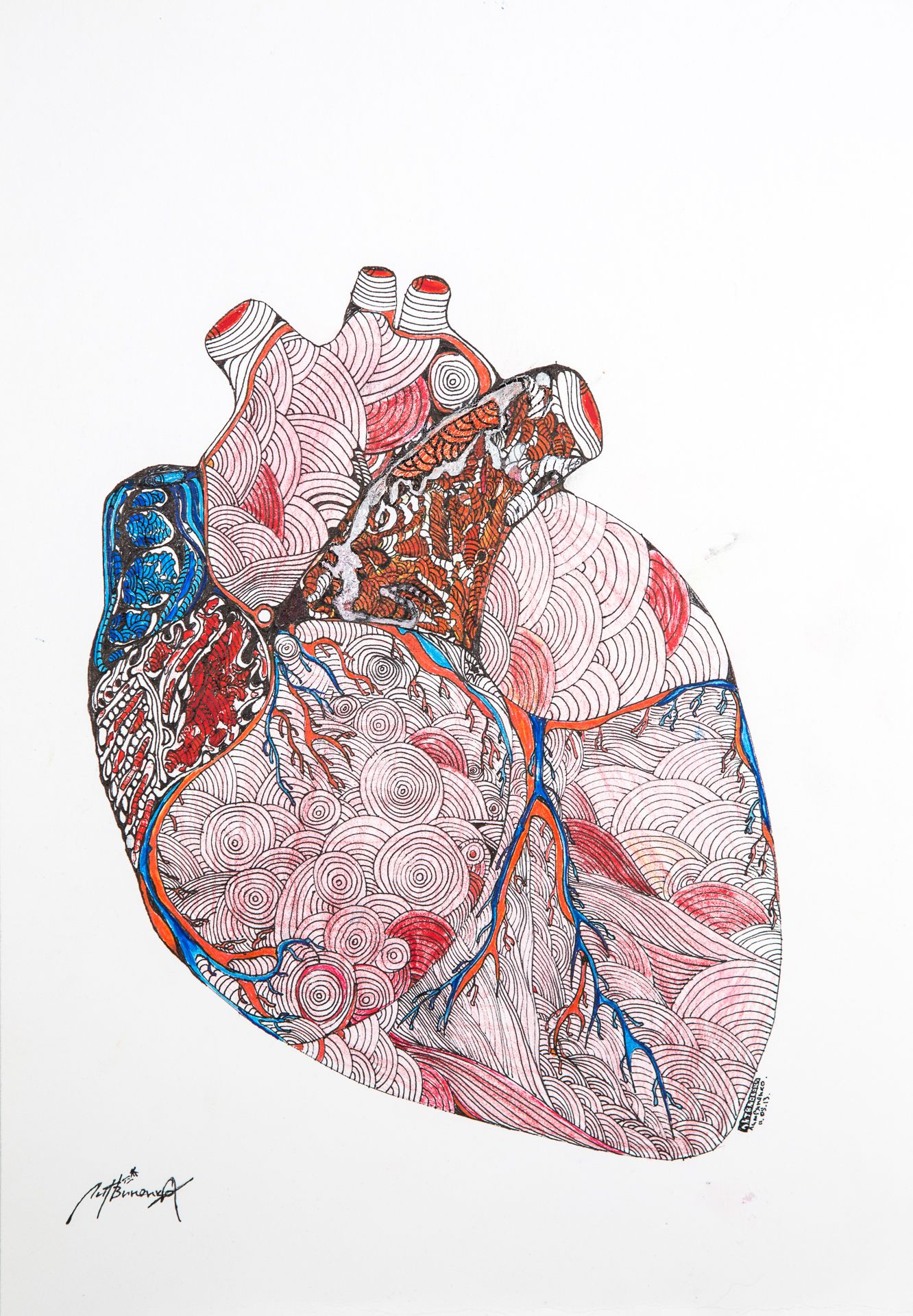 Alexey Litvinenko Heart 2 Drawing Ink And Acrylic