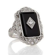 Xavier Absolute™ Black Onyx Round Appliquéd Shield Ring