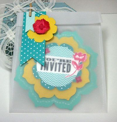 Stamp Review Crew: Oh, Hello edition Cindy Beach, bold and bright invitations in vellum envelope, Stampin Up, SU, Floral framelits