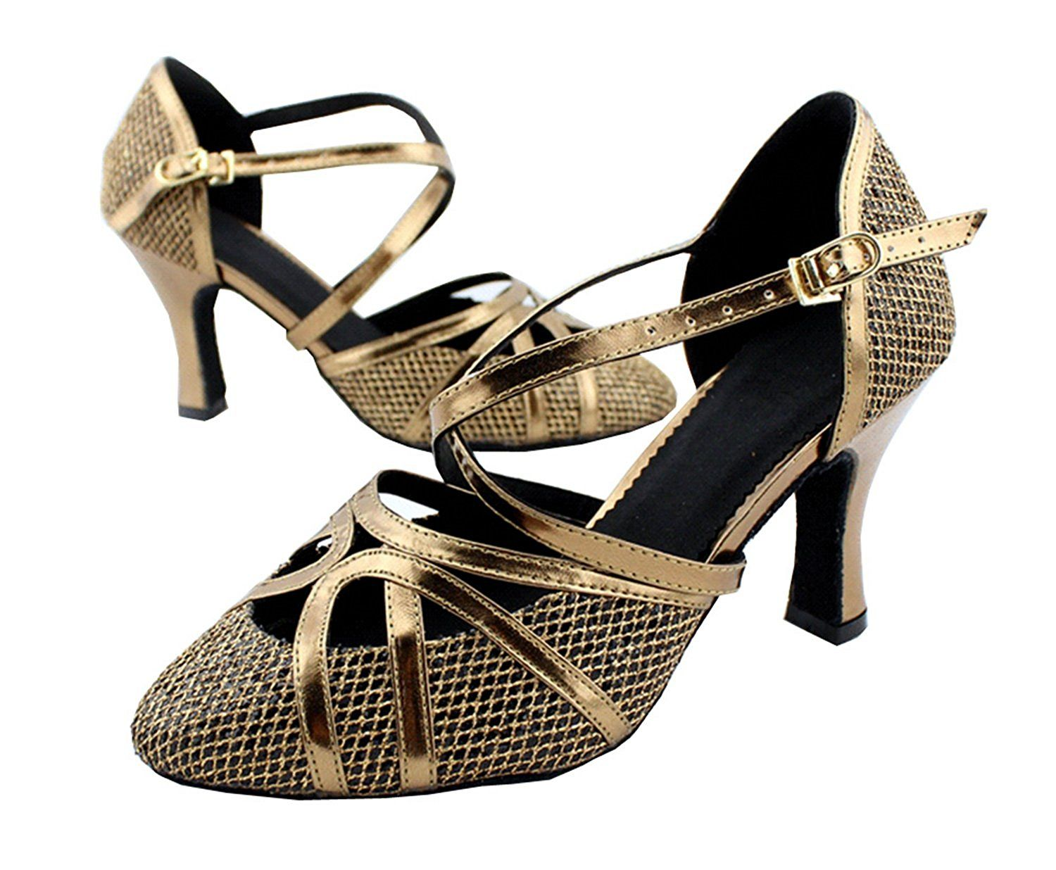 Minitoo Womens Med Heel Glitter Meterial Salsa Tango Ballroom Latin Strappy Dance Sandals ** Visit the image link more details.