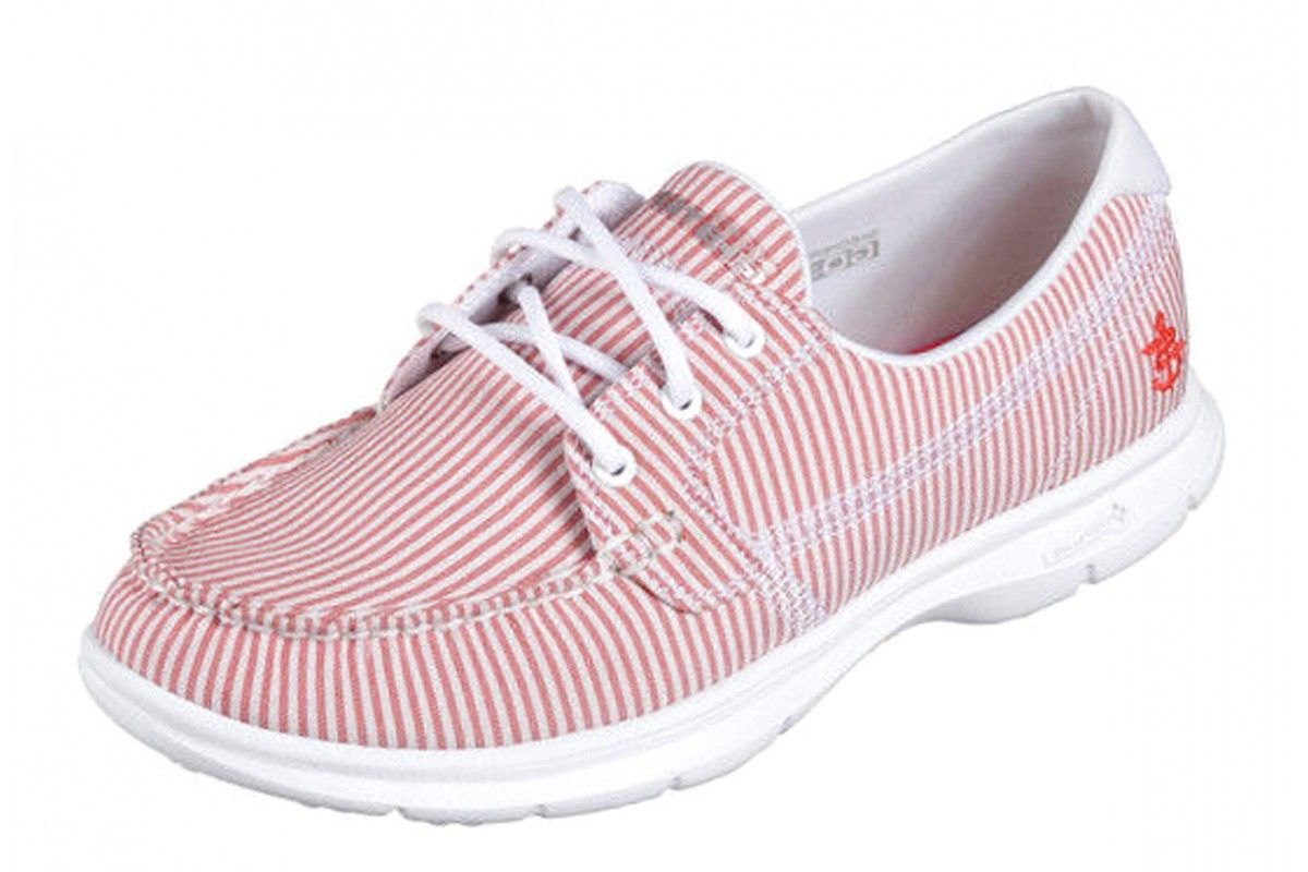 Skechers Go Step Sandy Red White Stripe Women's Comfort Boat Shoes