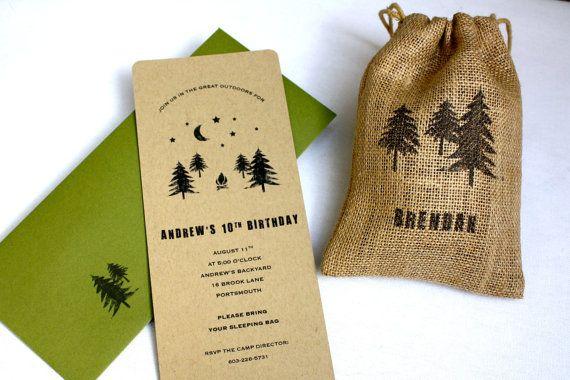 Overnight Wedding Invitations: Woodland Backyard Camping Birthday Party Invitation