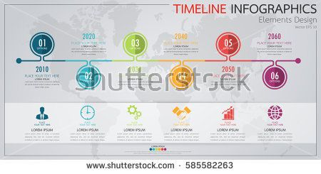 modern business horizontal timeline process chart infographics