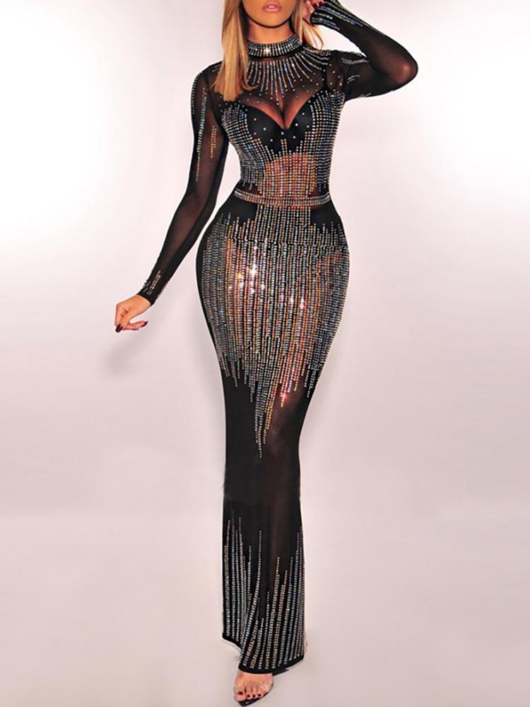 a070ea9b9d0a Hot Stamping Sheer Mesh Evening Dress (S M L XL 2XL)  65.99