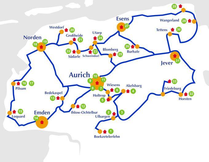 Borkum Karte Fahrradwege.Atelier Route Ostfriesland Sehenswurdigkeiten Der
