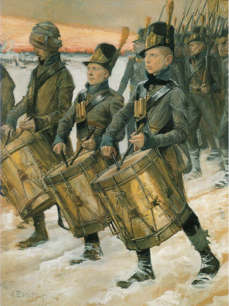 Porilaisten marssi - Björneborgarnas marsch - Albert Edelfelt (1854 - 1905) - Porilaisten marssi sai nimensä Georg Carl von Döbelnin komentaman rykmentin mukaan. Kenraalimajuri Wilhelm Thesleff määräsi vuonna 1918 Porilaisten marssin sotaväen kunniamarssiksi.