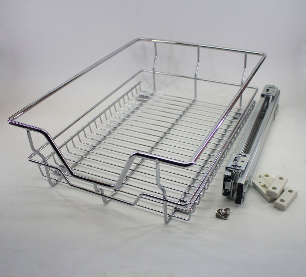 Stainless Pull-Out Wire Organizer Rack Kitchen Cabinet Rack Sliding ...
