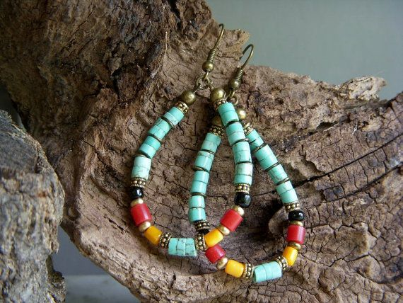 Turquoise Hoop Earrings, Horn, Mother of Pearl, Antiqued Brass, E566