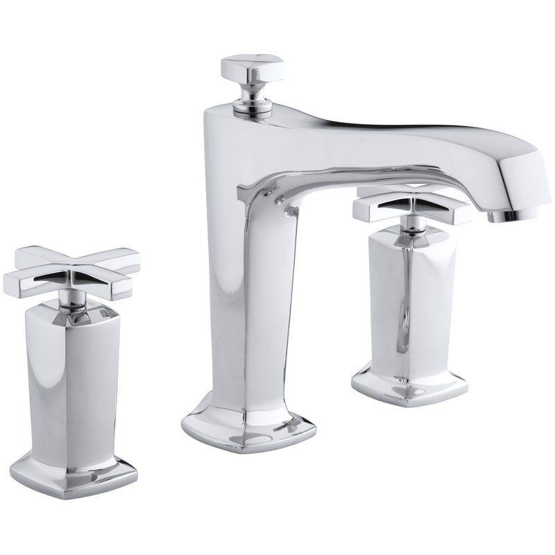 Margaux Deck Mount Bath Faucet Trim For High Flow Valve With Diverter Spout And Cross Handles Valve Not Included Bath Faucet Tub Faucet Roman Tub Faucets