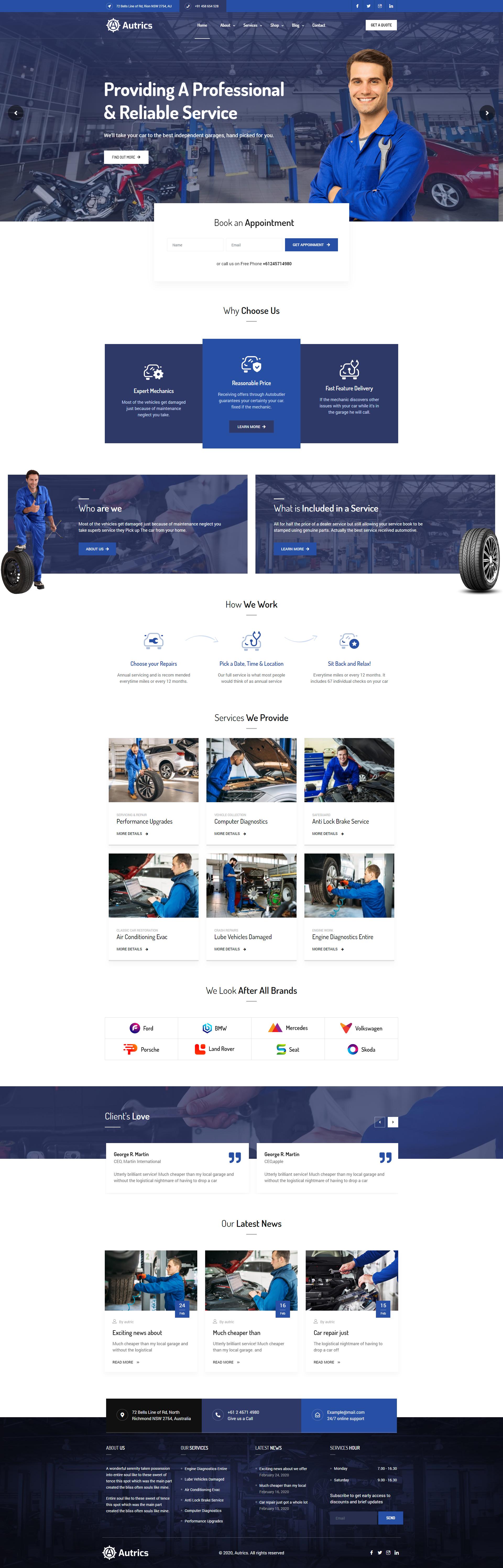 Autrics Car Repair Services And Auto Mechanic Wordpress Theme Stylelib Web Design Web Design Logo Web Development Design