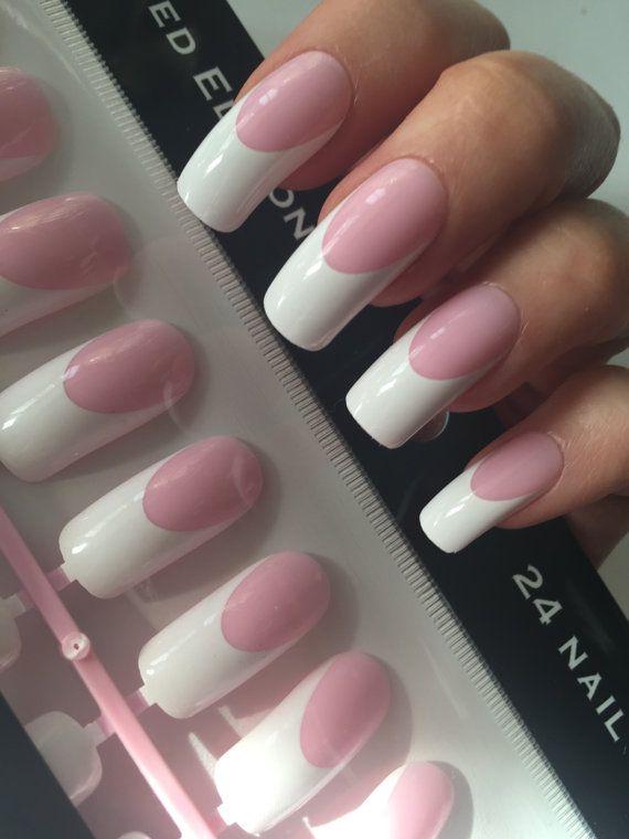 Shiny pink French Manicure long curve false nails 24 pieces ...