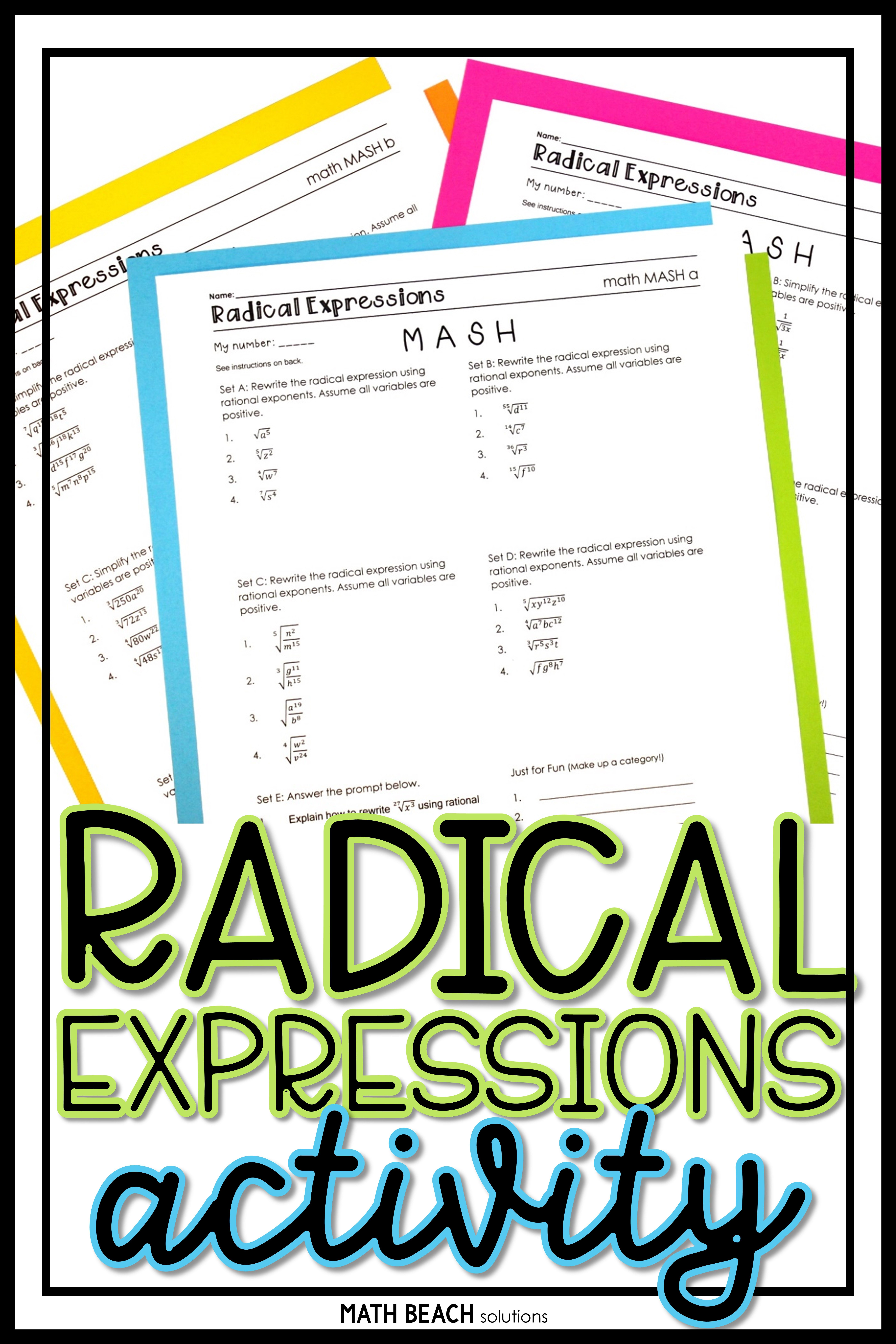Radical Expressions Math Mash Activity